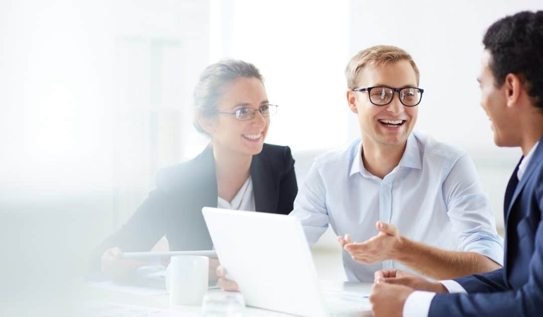 three people having a business meeting representing retirement plan administration